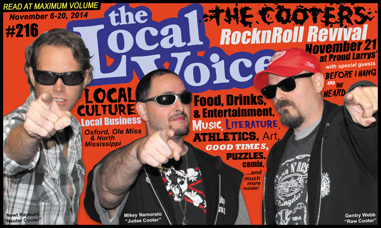 The Cooters on the cover of The Local Voice newspaper, November 6-20, 2014, Oxford, Mississippi. Photograph by Rebecca Long.